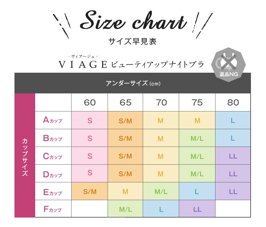 viageナイトブラのサイズ表